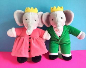 Babar the elephant, Queen Celeste, Stuffed Animals, Elephant King, 1980s Toys, Vintage Plush, Jean de Brunhoff, Dakin