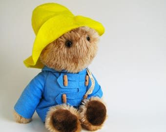 Vintage Paddington Bear Plush Toy Teddy Bear Stuffed Animal 1980s Toy Kids Toy