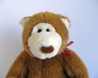 Vintage Small Teddy Bear Stuffed Animal Ganz 1990s Toys Red Bandana Brown Small Bear Plush