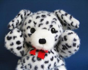 Dalmatian Dog, Dakin, Cuddles, stuffed animal, original red ribbon, Teddy Bear, 1980s Toys, 1989, Vintage Plush