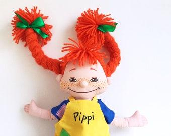 Pippi Longstocking Doll, Swedish, Astrid Lindgren, Soft Toys, 1980s Toys, Vintage Plush