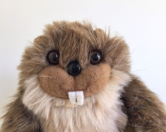 Beaver, Stuffed Animal, Graphics International, 1980s Toy, Vintage Plush