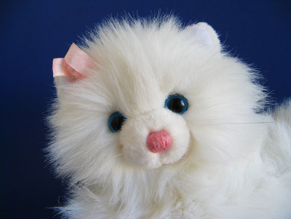 Vintage White Cat Stuffed Animal By Dakin Blue Eyes Whiskers Etsy