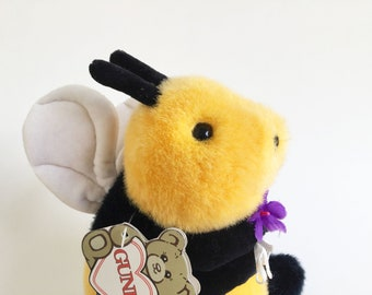"Bumble Bee Stuffed Animal, Holding Flowers, Gund, 1980s Toys, 1989, Vintage Plush, BeeBee, Original Tags, 7"""