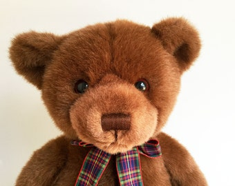 Gund Teddy Bear, Stuffed Animal, Heads and Tails, 1990s Toys, Classic Teddy Bear, Plaid Ribbon, Vintage Plush
