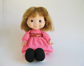 Vintage Natalie Doll by Fisher Price 202 1970s Toy Pink Skirt, Black Shoes, Lapsitter