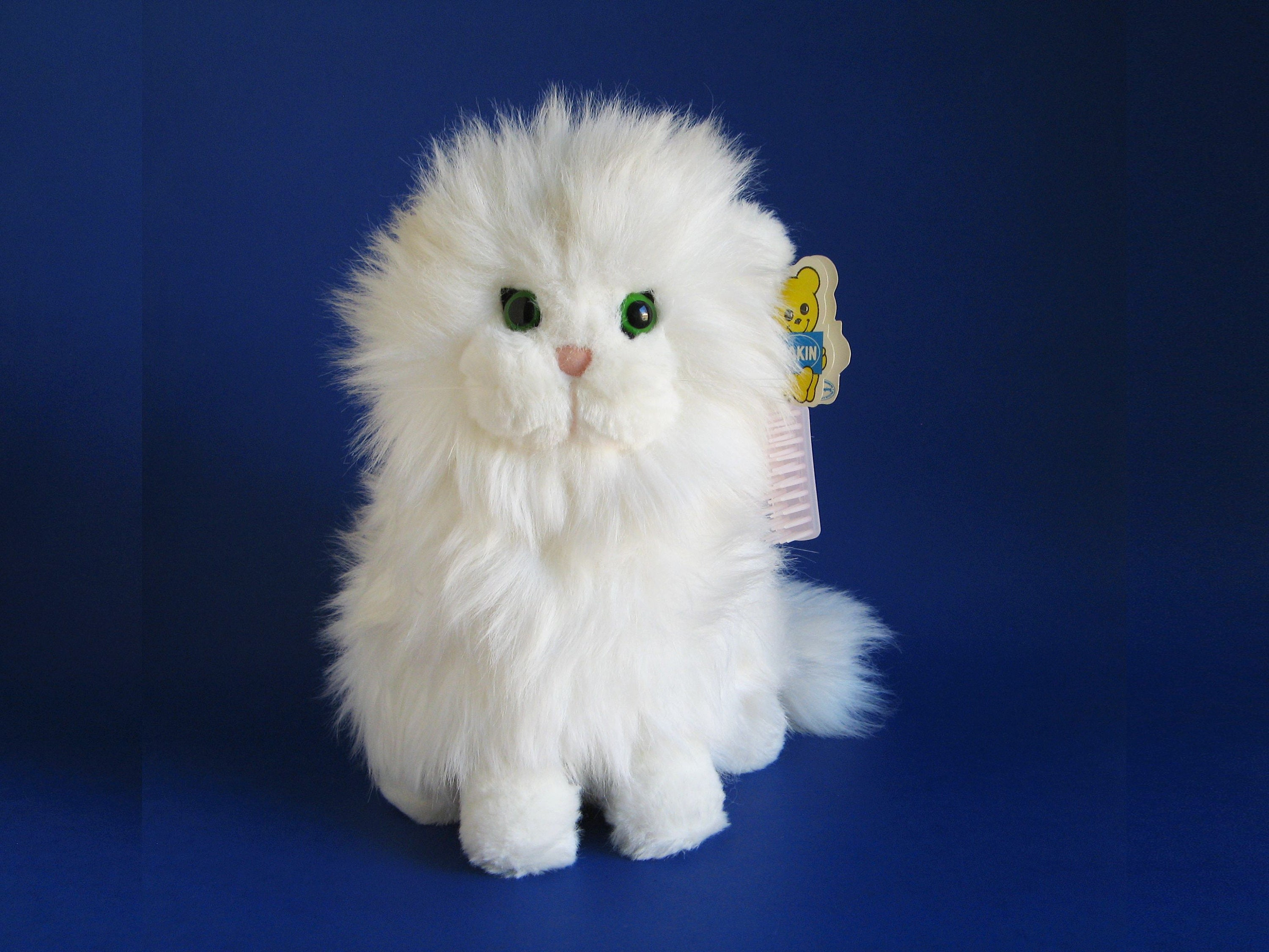 Vintage White Cat Stuffed Animal With Original Pink Brush By Etsy