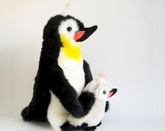 Vintage Penguin with Baby Chick Stuffed Animal GUND Collector's Classic Popsie Arctic Bird 1980s Toy 1989 Kids Nursery Decor Mother's Day