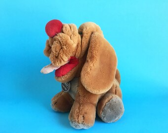 Wrinkles Dog, Stuffed Animal, 1980s Toy, Ganz Bros, Vintage Plush, Shar-pei