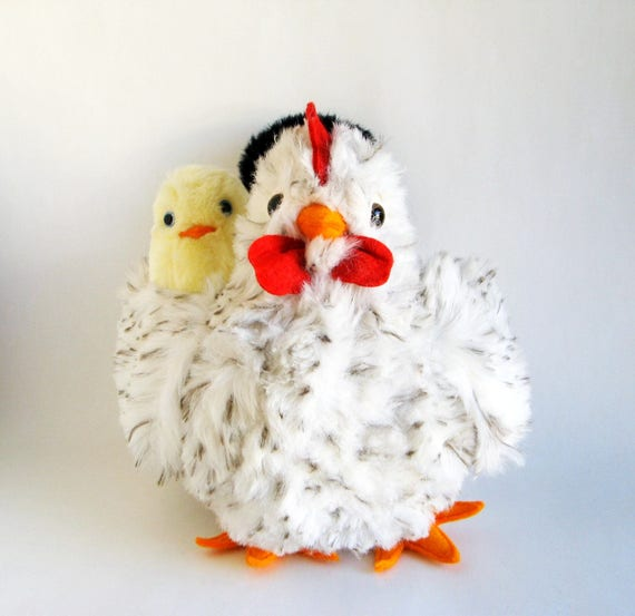 Vintage Chicken Mama Hen Removable Baby Chick Stuffed Animal Etsy