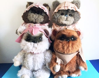 Vintage Set of Ewoks Wicket, Princess Keneesaa, Latara, Paploo, Plush, Star Wars, Return of the Jedi Kenner, Stuffed Animal, Teddy Bear
