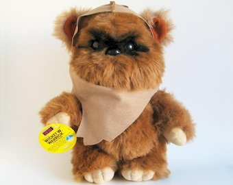 Vintage Ewok Wicket Plush Star Wars Return of the Jedi Kenner 1980s Toy Stuffed Animal