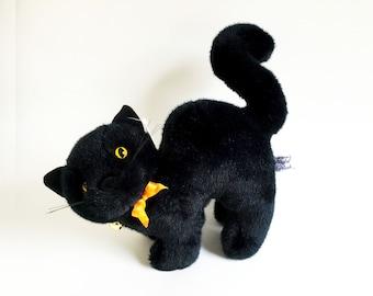 Black Cat, Stuffed Animal, Chrisha, Vintage Plush, 1988, Halloween