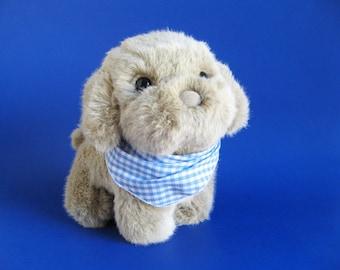 Vintage Lab Puppy Dog Stuffed Animal by Dakin Blonde Labrador Retriever 1980s Toy Plush 1985