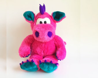 Pink Girl Dragon, Stuffed Animal, Puppet, Drak, Play Talkin, 24K Polar Puff, Special Effects, Mighty Star, 1990s Toy, Vintage Plush