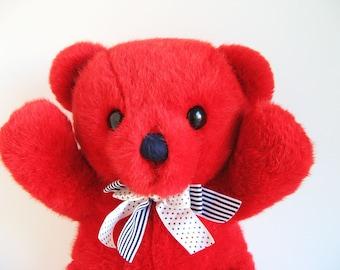 Cuddles Teddy Bear, Dakin, original black & white ribbon, stuffed animal, 1979, 70s Toys, Vintage Plush