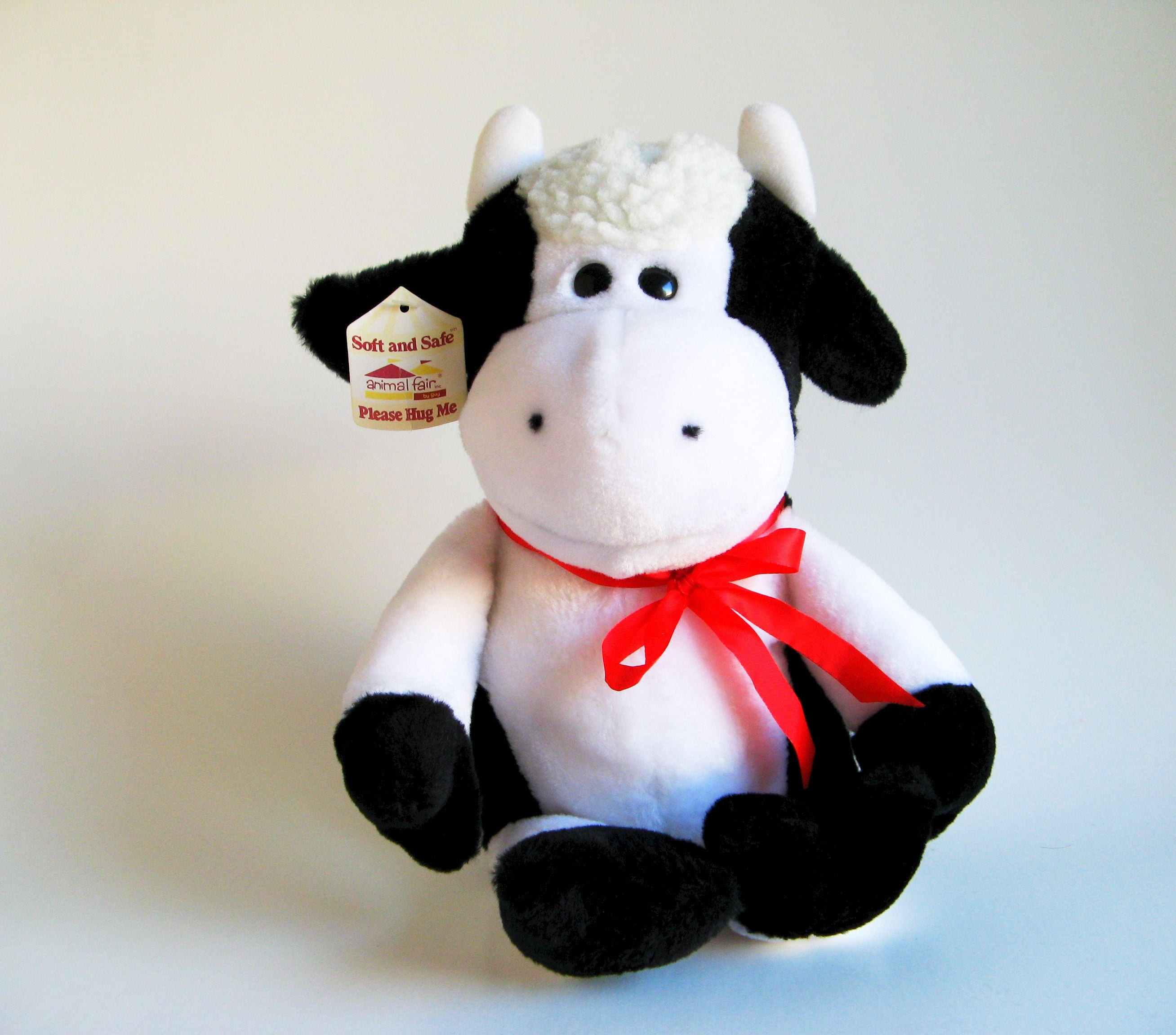 Vintage Cow Bull Stuffed Animal By Animal Fair Kids Toy 1980s Etsy