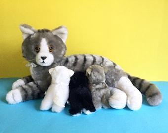 Mama Cat and 3 Nursing Kittens, Stuffed Animal, R. DAKIN, Grey Tabby Cat, Mother & Babies, 1980s Toy, Vintage Plush