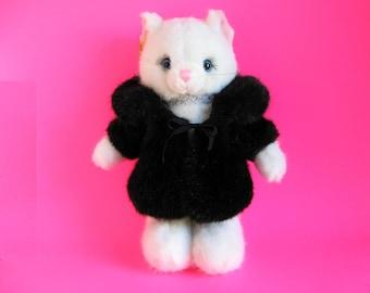 White Cat, Black Fur Coat, Jennifer, Russ Berrie, Kitty Cat, Glamor Puss, Blue Eyes, Long Lashes, 1980s Toy, Vintage Plush