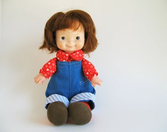 Vintage Audrey Doll by Fisher Price 203 1970s Toy Red Shirt, Blue Coveralls, Lapsitter, Auburn