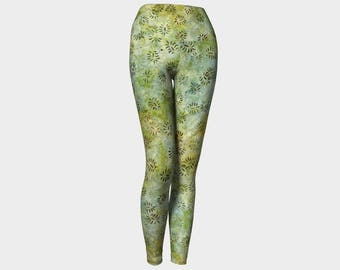 Batik Green Yoga Leggings