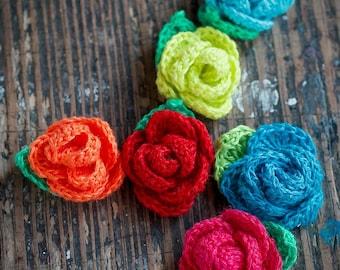 Set of 6 Crocheted Linen Roses - Embellishments -- neon
