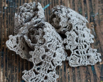 Hand Crocheted Linen Edging, Lace Trim - natural flax grey