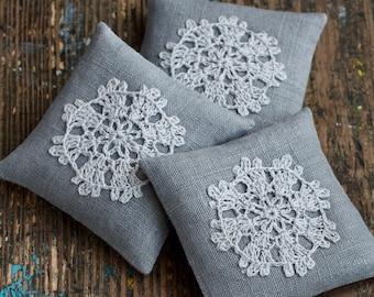 Lavender sachets -- crochet motif -- set of 3 - grey