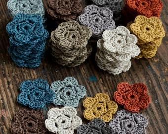 Crocheted linen flowers -- set of 10