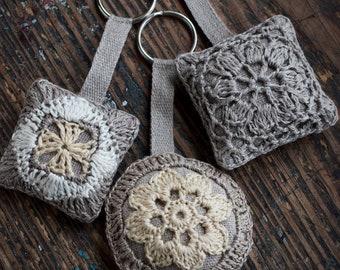 Linen crochet motif lavender filled keyring