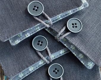 Small Linen Needle Book - dark grey