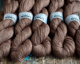 Linen yarn - lace weight -- brown