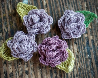 Set of 4 Crocheted Linen Roses - Embellishments