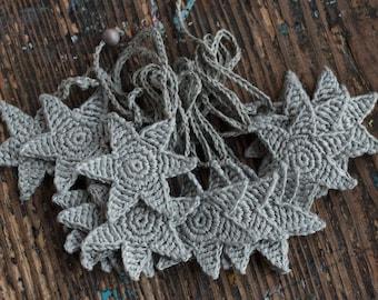 Crochet Garland - Wall Hanging - Small Bunting - Stars garland - Putty