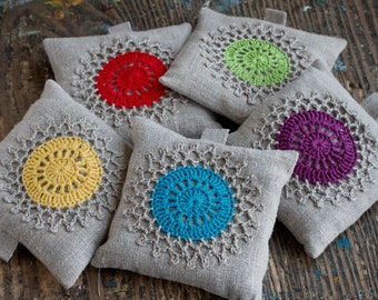 Single Lavender sachet -- crochet motif