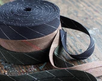 Linen bias tape -- width 2 cm -- black, green, brown