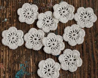 Crocheted linen flowers -- set of 10 - 0ff white