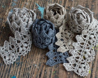 Hand Crocheted Linen Edging, Lace Trim - natural grey
