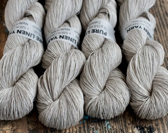 Linen yarn - lace weight -- silver