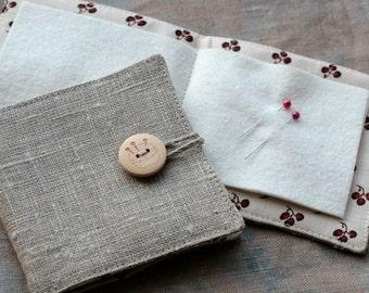 Small Linen Needle Book - Pincushion button