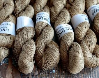 Linen yarn -- peanut -- 3-ply - Lace