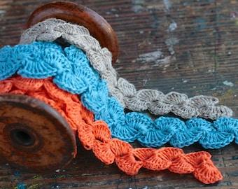 Hand Crocheted Linen Edging, Lace Trim -- blue