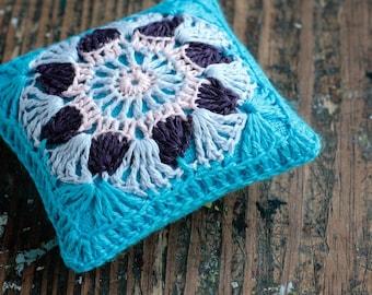 Linen  pincushion - crochet motif