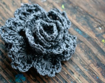 Crochet Linen Rose Brooch - dark grey