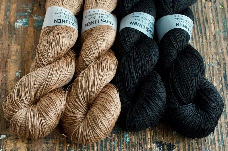 Linen yarn  light fingering   caramel black image 0