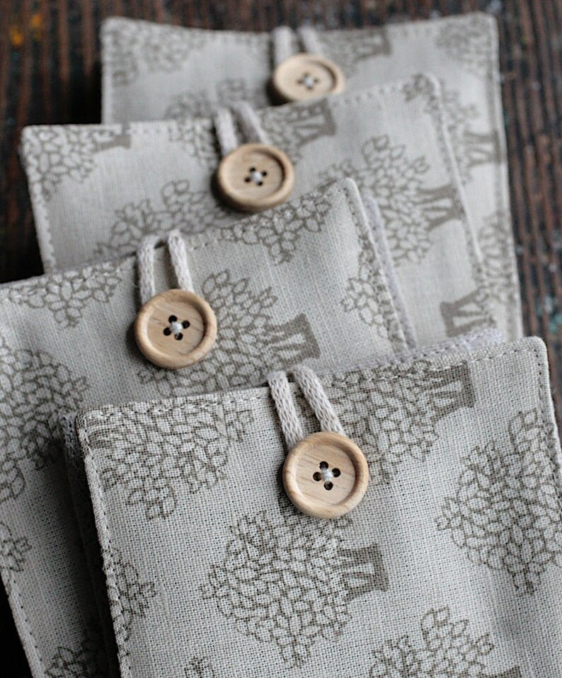 Small Linen Needle Book  Trees image 0
