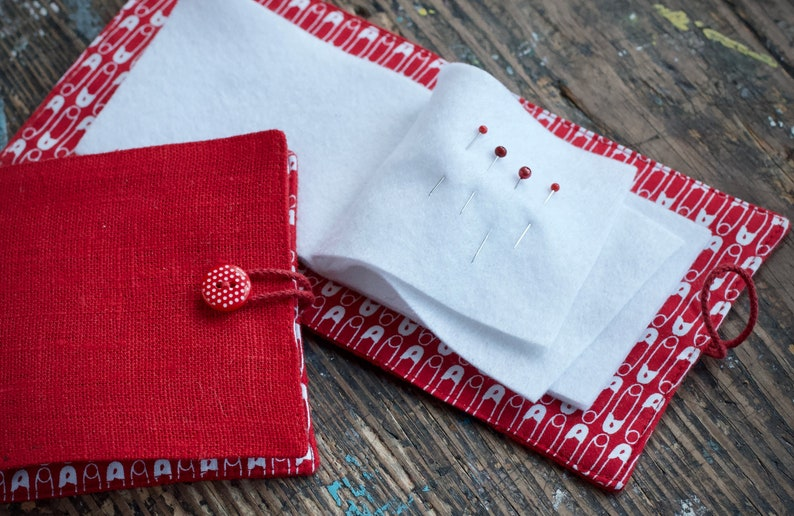 Small Linen Needle Book Safety pins Red