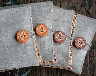 Small Linen Needle Book - Leaf button