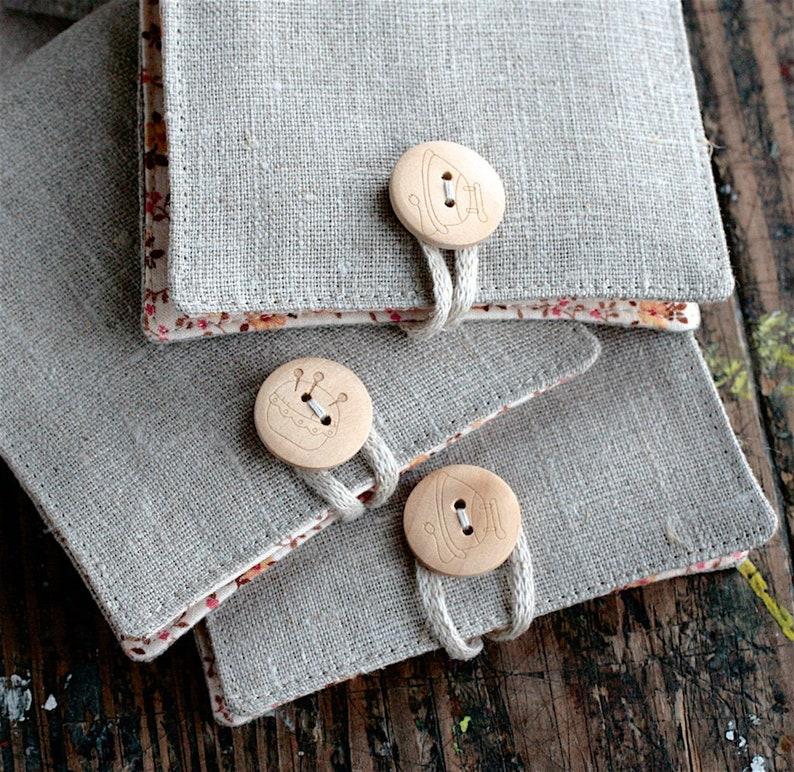 Small Linen Needle Book  Iron or Pincushion button image 0