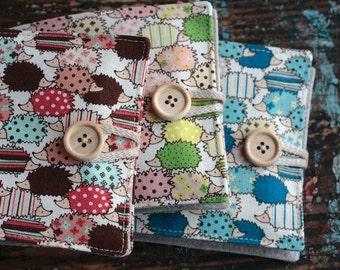 Small Linen Needle Book - Hedgehogs
